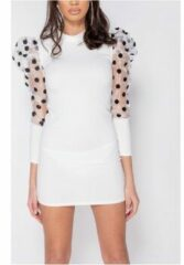 Witte Korte Jurk Parisian Sheer Polka Dot Organza Sleeve Bodycon Mini Dress