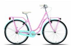 Rosa 28 Zoll Legnano Fenicottero Damen Holland Fahrrad Singlespeed Legnano pink-hellblau