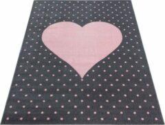 Bonababy.nl Vloerkleed - Dots & Heart - Rechthoek - Roze