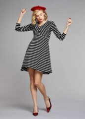 Witte Gebe Maternity Dress Beyonce - Black-White stripe (099), S