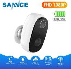 Witte Sannce Slimme WiFi waterbestendige IP-binnen / buitencamera (Full-HD 2mp, SD, IR+2-weg audio), Draadloos met ingebouwde accu, standby voor 5 maanden