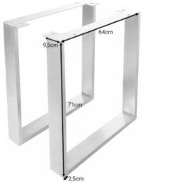 Zilveren DELIFE Tafelonderstel van roestvrij staal geborsteld smal 9,5x2,5 cm tafelpoten (set van 2)