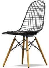 Vitra Wire Chair DKW-5 - Ahorn hell - Leder 68 chocolate - Sitzhöhe 43 cm