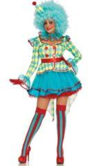 Blauwe Clown & Nar Kostuum | Luxe Carnavals Clown | Vrouw | Small | Carnaval kostuum | Verkleedkleding
