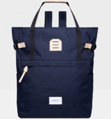 Sandqvist Roger Backpack navy with natural leather