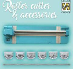 Blauwe Nellie's Choice Nellie's Roller cutter compleet - 6 mesjes voor verschillende snijranden - papiersnijder - recht/scheur/zigzag/vouw randen - snijapparaat
