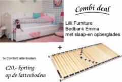Witte Lilli Furniture - Emma Bedbank met uitschuifbaar logeerbed en 2 lades - inclusief Comfort lattenbodem
