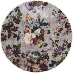 ESSENZA Fleur Finest Vloerkleed Grijs - rond Ø90 cm