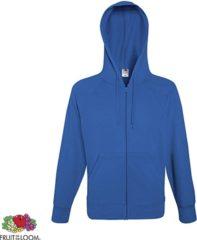 Blauwe Fruit of the Loom hoodie vest met rits lichtgewicht Maat M Kleur Royal