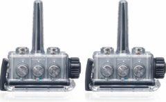 Grijze Bb-Talkin.eu BbTalkin IPX7 waterbestendige communicatie middel inclusief pet met speaker en boommicrofoon en mono oorschelp met speaker en microfoon