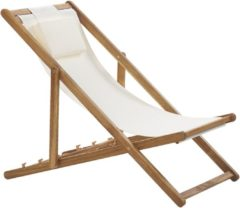 Beliani Tuin- / ligstoel acacia hout / beige bekleding AVELLINO