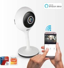 Witte CALIBER IP smart camera HWC101 720HD ,1,0MP mini IP camera met wifi/4G en nachtzicht. App bediend(smarthome), werkt met Alexa amazon ,ISO gecertificeerd en Cloud/Privacy gecertificeerd