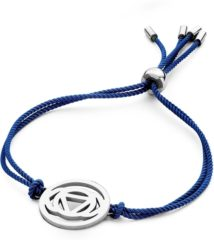 Donkerblauwe CO88 Collection Chakra 8CB 90209 Armband met Stalen Element - Third Eye Chakra Ø 20 mm - One-size - Donker Blauw