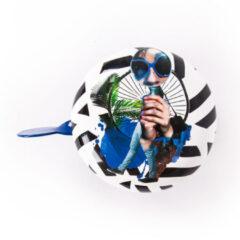 Blauwe BiggDesign Fietsbel - Nature Aarde Fietsbel ontwerp - 19-22 mm handvaten