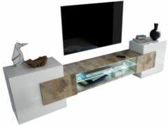 Pesaro Mobilia Tv-meubel Incastro 61 cm hoog - Hoogglans wit met eiken