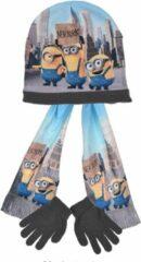 """Minions - Winterset - Model """"Minions in New York City"""" - Handschoenen, Muts & Sjaal - Grijs & Multi-kleur - 54 cm"""