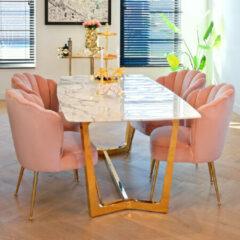 Richmond Interiors Richmond Eettafel 'Dynasty' Faux Marmer en Staal, 200 x 100cm