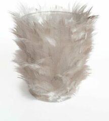 Merkloos / Sans marque Theelicht - Feather - Licht Grijs - Glas