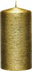 Enlightening Candles 1x Creme gouden cilinderkaars/stompkaars 7 x 13 cm 25 branduren - Geurloze creme goudkleurige kaarsen - Woondecoraties