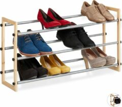 Naturelkleurige Relaxdays schoenenrek uitschuifbaar - schoenenkast - opbergrek schoenen - metaal - hout 3