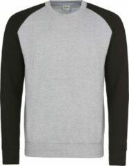 Grijze AWDis Just Hoods Baseball sweatshirt, Kleur Heather Grey/ Jet Black, Maat M