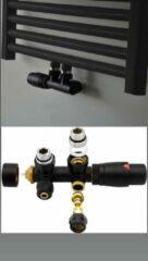 Bel Radiator kraan Midden Aansluitset Haakse Zwart M30xM16/2
