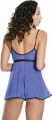 Blauwe Coquette (All) Babydoll & G-String - Blue/Black - - O/S - Lingerie For Her - Babydoll