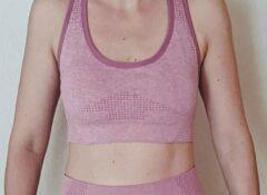 Merkloos / Sans marque Naadloos topje voor fitness, yoga, gym - Roze - Maat L