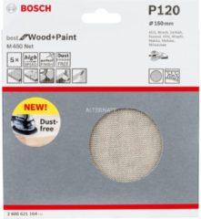 Bosch Schleifblatt M480 Net, Best for Wood and Paint, 150 mm, 120, 5er-Pack VPE: 5