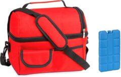 Masha Koeltas met schouderband- 9 Liter- rood- inclusief gratis koelelement