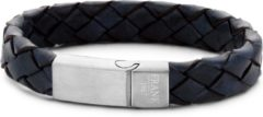 Blauwe Frank 1967 7FB 0222 Stalen Heren Armband met Leer - Gevlochten - Lengte 21 cm - Blauw