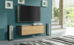 Antraciet-grijze Pro-meubels - Zwevend Tv-meubel - Tv Kast - Tunis - Antraciet - Eiken - 100cm