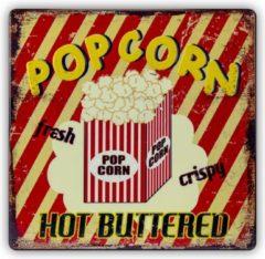 Haes Deco - Retro Metalen Muurdecoratie - Popcorn - Western Deco Vintage-decoratie - 30 X 30 X 0,3 Cm - Wd690