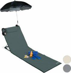 Antraciet-grijze Relaxdays strandmat - groot - ligbed - hoofdsteun - rugleuning - opvouwbaar - draagbaar antraciet