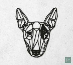 Laserfabrique Wanddecoratie - Geometrische Hond Bull Terriër - Zwart - 48cm - Houten Dieren - Muurdecoratie - Line art - Wall art