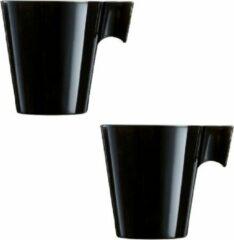 Luminarc Set van 8x stuks lungo koffie/espresso bekers/mokken/kopjes zwart - 220 ml - luxe bekers van keramiek