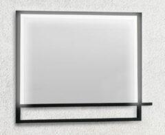 B-Stone Saval zwart RVS spiegel met LED-verlichting en spiegelverwarming 80x70cm