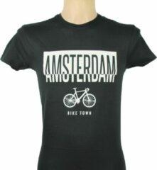 ByKemme T-Shirt - Casual T-Shirt - Fun T-Shirt - Fun Tekst - Lifestyle T-Shirt - Outdoor Shirt - Fiets - Bike Town - Amsterdam - Zwart - L