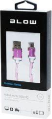 ABC-Led Micro USB Kabel Nylon 1 meter - Roze HQ