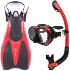 """GearBest """"Hot Whale Diving Sports Equipment Diving Mask Snorkel Fins Set High Quality With 5 Colors MK2600+SK100+WF800 - XS/M Red"""""""
