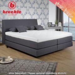 Breckle Boxspringbett Shan Basic 140x200 cm - inkl. Kissenset u. Komfortschaum-Topper - Schwebeoptik - Möbelstopff Anthrazit