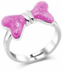 JYC Zilveren strik ring verstelbaar roze glitter
