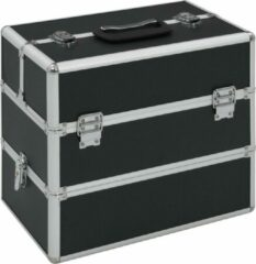 VidaXL Make-up koffer 37x24x35 cm aluminium zwart
