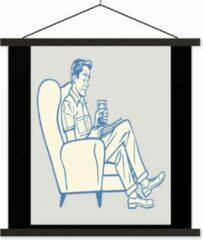 TextilePosters Illustratie van een lezende man in zijn stoel schoolplaat platte latten zwart 40x30 cm - klein - Foto print op textielposter (wanddecoratie woonkamer/slaapkamer)
