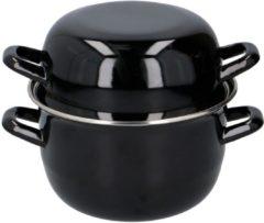 Merkloos / Sans marque Mosselpan - Ø 18 cm - Keramisch, Elektrisch en Gas - Vaatwasbestendig - Zwart