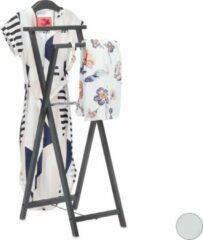 Relaxdays dressboy hout - kledingrek vouwbaar - kledingstandaard - klapbaar - landelijk grijs