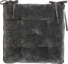 Atmosphera DELUXE stoelkussen Grijs velvet 38 x 38 cm - 2 lintjes - Extra dik - Fluweel - Katoen