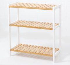 Witte Decopatent® Schoenenrek voor 12 paar schoenen - Schoenen Rek bamboe hout met 3 etages - Opbergrek - badkamerrek - 60 x 25 x 66 Cm