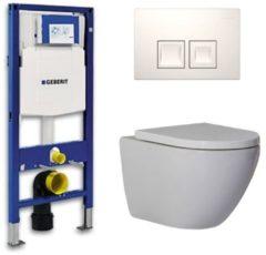 Douche Concurrent Geberit Up 100 Toiletset - Inbouw WC Hangtoilet Wandcloset - Shorty Delta 50 Wit