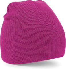 Beechfield Warme gebreide Beanie wintermuts in het fuchsia roze voor volwassenen - Damesmutsen / herenmutsen - 100% polyacryl - Basic line